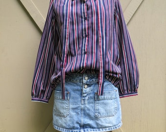 70s vintage Navy Blue, Red and White Striped Secretary Blouse