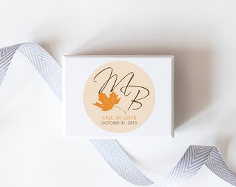Fall in Love Wedding Favor Stickers  - Custom Labels // Autumn Leaves