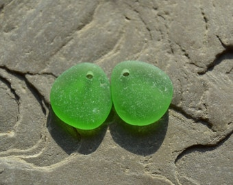Drilled Genuine Sea Glass for Earrings - Lush Kelly Green - Sea Glass Beads Jewelry Supply