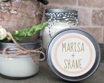 Soy Candle Wedding Favors - Set of 12  - 4 or 8 oz  - Wedding Favor Candles- Personalized Wedding Favors/Shower Favors