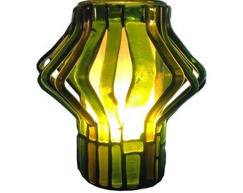 Ninety Degrees Lamp, Diverted series, Recycled Glass Mosaic Lamp - Chardonnay