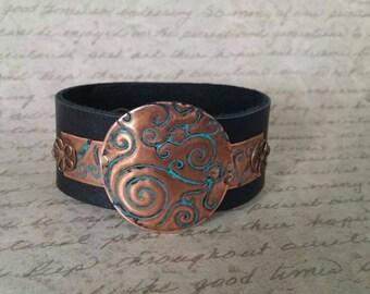 Leather Cuff Bracelet for Women, Vintaj Jewelry, Bohemian Jewelry, Cuff Bracelet,  Leather Metal Bracelet, Copper Jewelry, Boho Jewelry