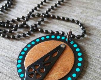 Vintaj Jewelry, Medallion Necklace, Mixed Metal Necklace, Pendant Necklace, Bohemian Jewelry, Bohemian Necklace, Ball Chain Necklace, Copper