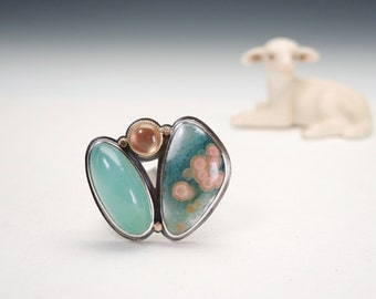 Statement Ring with Ocean Jasper, Chrysoprase, Oregon Sunstone, Silver, Gold, OOAK
