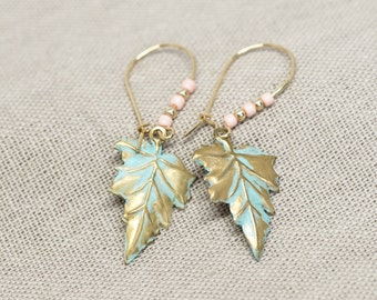 Mint Gold Leaf Dangle Earrings \\ Nature Inspired Flower Jewelry \\ 16k Gold Plated Kidney Wires \\ Everyday Earrings
