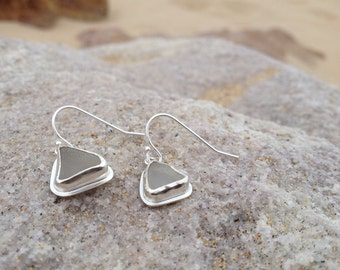 White Sea Glass Earrings made in Sterling Silver - Sea Glass Collection