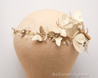 Gold Butterfly Wedding Hair Vine Beaded Bridal Headpiece Butterflies and Pearls Floral Crown Woodland Wedding Headpiece Flower Bridal Wreath