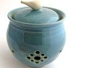 Little Birdie Garlic Keeper // Garlic Jar in Robins Egg Blue
