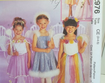 Toddler Girl's  Princess Fairy Costumes McCall's 2976 Costume Wings, Tiered or Petal Skirt, Panties and Headpiece Dress Up Size 3 - 5 UNCUT
