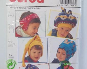 Kids Hats Burda 3956 Sewing Pattern, Children's Fleece or Knit Fabric Caps and Head Wraps, Stocking Cap and Hood, Bonnet UNCUT Destash