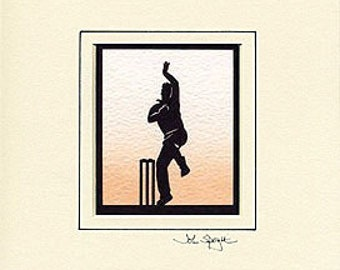 Cricket Bowler Hand Cut Papercut