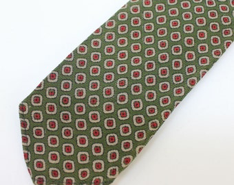 "40's / 50's Wool Necktie / Narrow Tie / Olive Green / 2 3/4"" wide"