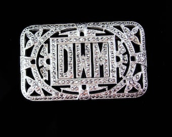 Sterling Antique Marcasite brooch Initial letter DWM peronalized art deco silver estate heirloom art deco  vintage jewelry