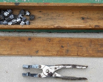 Antique 50s 60s primitive metal cattle tattoo branding tool number and letter stamps long early 1900s wooden box decor or printmaking supply