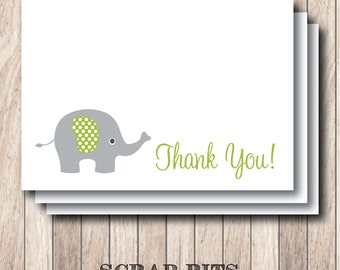 Elephant Note Card Set . Thank You Cards