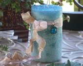 """NORTH SEA JEWEL™ """"Old European Witchcraft""""™ Blue Pillar Candle with Czech Glass Gem Drop Charm"""