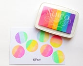 neon nijico ink pad. multi colored rainbow rubber stamp ink pad. water based archival pigment paper ink. embossing. diy scrapbooking