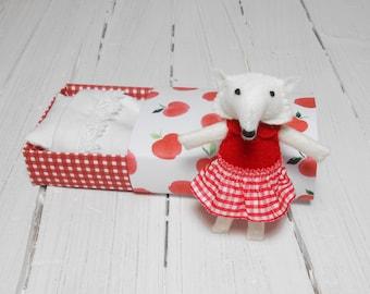 White wool felt artic fox woodland plush miniature animal stuffed fox matchbox doll gift under 25 red apple stuffed animal