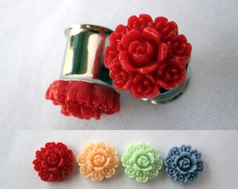 """Pair of Rose Bouquet Plugs - More Colors - Formal Girly Gauges - 2g, 0g, 00g, 7/16"""", 1/2"""", post earrings (6mm, 8mm, 10mm, 11mm, 12mm)"""