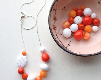 creamsicle - necklace - vintage lucite