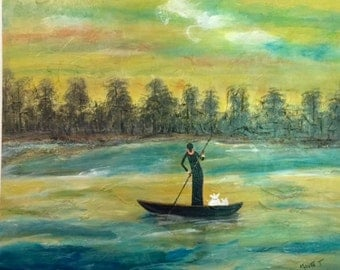 "african art painting  Paseo del Manglar 24"" x 20"" Original Abrstract Acrylic Painting, Canoes - Art by Maite"