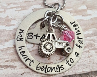 Custom hand stamped, Personalized, JBK, My Heart Belongs to a Farmer necklace