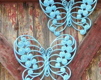 2 Butterfly Wall Hanging Vintage Blue Butterfly Plaque Burwood Syroco Homco 1970's bath