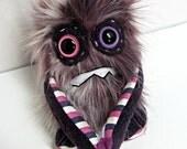 Handmade Monster Plush - OOAK Plush Monster Toy - Pink/Purple Calico Faux Fur - Grumpy Monster - Nervous Monster - Weird Plush Toy - Cute