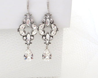 Crystal Wedding earrings, Vintage Bridal earrings, Swarovski crystal earrings, Bridal jewelry, Chandelier earrings, Filigree earrings