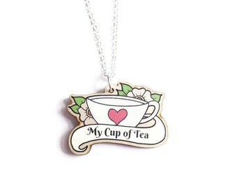 Teacup Necklace, Cup of Tea Necklace, Tattoo Necklace, Wooden Jewellery, Tattoo Style Jewellery, Cup Pendant, Retro Necklace, Mothers Day