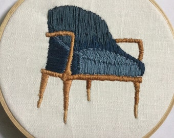 Blue mid century modern Chair - hand embroidered wall art