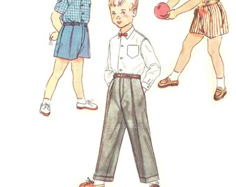 Size 2, 4 Boys Shirt Trouser Pants Shorts Simplicity 4166 Sewing Pattern Vintage 1950s Children Toddler