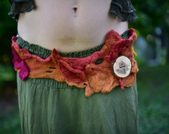 Felt Melted Autumn Fairy Pixie Woodland Mini Belt With Autumn Leaves OOAK