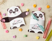 Printable Panda Bear Candy or gift Hugger valentines animals hug individual candy valentine card cute Valentine's day chocolate holders