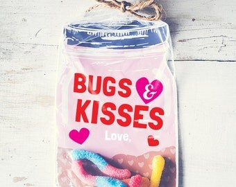 Download Printable Valentine candy gift DIY mason jar for gummy worms, beetle toys, spider, candy, rings classroom Bugs and Kisses