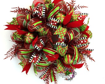 Deco Mesh Christmas Wreath, Merry Christmas Wreath, Red & Lime Green Christmas Wreath, Christmas Wreath for Front Door, Whimsical Wreath