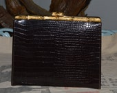 Alligator Purse, 60s Purse, Vintage Purse, Brown Leather, Evening Purse, Cocktail Purse, Bamboo Handle, Dancing Purse, Handbag