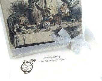 Alice in Wonderland Birthday Greeting Card - A Very Merry UnBirthday To You - Vintage UnBirthday Tea Party - Custom Invitation - 3D