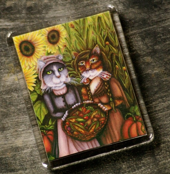 Thanksgiving Cat Magnet, Colonial American Harvest Holiday Cat Art Fridge Magnet
