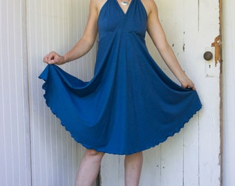 Clio Halter Dress - Organic Fabric - Made to Order - Choose Your Color - Eco Fashion
