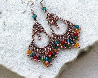 Colorful Multicolor Mini Chandelier  Earrings, Wire Wrapped, Boho, Canada, Handmade, Oxidized Copper, STERLING SILVER EARWIRES