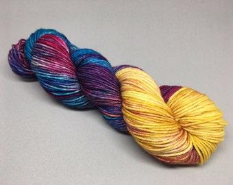 Lisa Frank Bender - Walker DK - merino nylon dk yarn blue turquoise yellow gold pink magenta fuchsia variegated