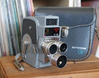 Mid Century Keystone Electric Eye K-4C Cine Turret 8mm Camera with Instructions, Case, & Lens Covers