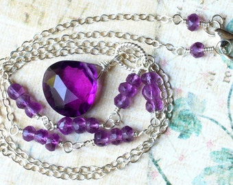 Amethst Necklace on Sterling Silver - Milano by CircesHouse on Etsy