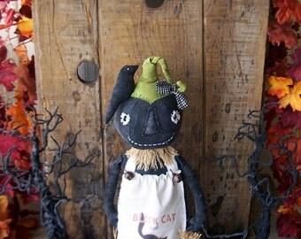 "PriMiTiVe Halloween Rusty Canned Pumpkin Head Girl Stump Art Doll ""Ginny "" OFG HAFAIR FAAP"