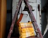 Repurposed Blanket Unisex Satchel in Golden Yellow w Tan Kangaroo Leather features
