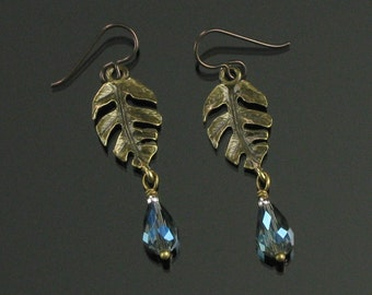 Tropical Brass Leaf & Crystal Earrings, Unique Leaf Long Dangles, Brass Nature Jewelry, Niobium earrings, Unique Jewelry Gift for Women