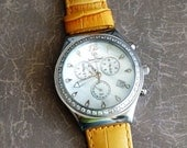 Vintage Swiss Lucien Piccard Chrono Wrist Watch by avintageobsession on etsy