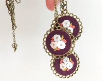 Floral Pendant in Purple | hand embroidered necklace, purple, bouquet, feminine, violet, plum, autumn, vintage