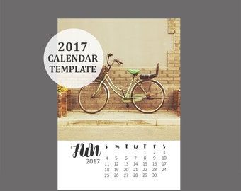 2017 Calendar Template, 5x7 size loose sheet 12 month whimsical calendar, Downloadable file for photographers, Print Your Own Calendar